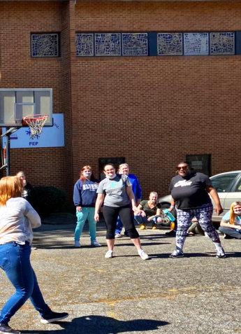 women playing outside