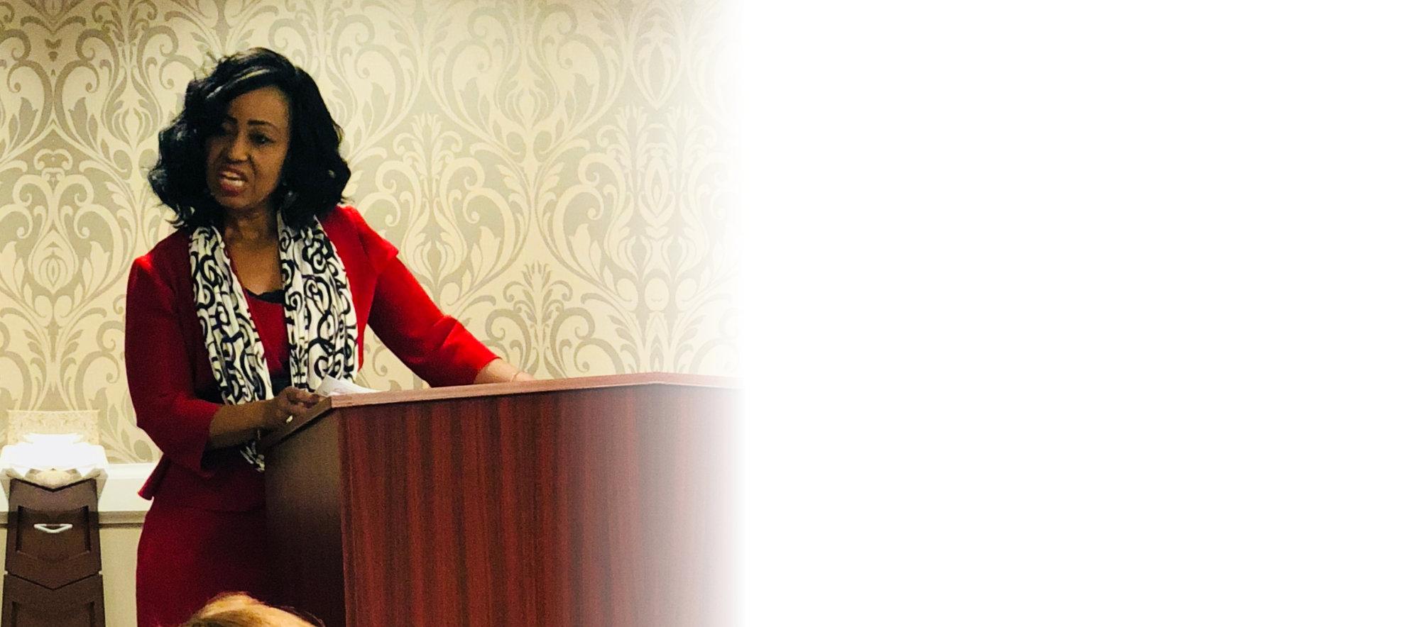 woman having a speech