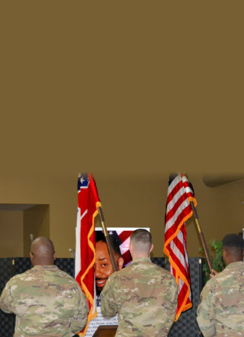 soldiers holding flags
